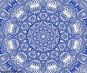 Puzzle de Mandala flor azul