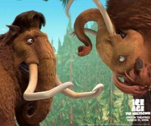 Puzzle de Manny y Ellie, dos mamuts enamorados