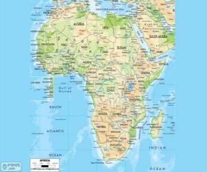Puzzle de Mapa de África. El continente africano se encuentra entre los océanos Atlántico, Índico y Pacífico. También limita con el mar Mediterraneo y el mar Rojo