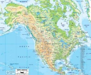 Puzzle de Mapa de América del Norte. Norteamérica formada por los países de Canadá, Estados Unidos y México