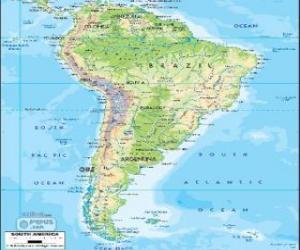 Puzzle de Mapa de América del Sur es el subcontinente austral de América