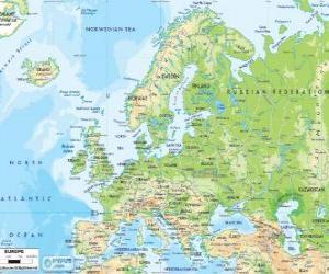 Puzzle de Mapa de Europa. El continente europeo se extiende a través de Rusia hasta los montes Urales