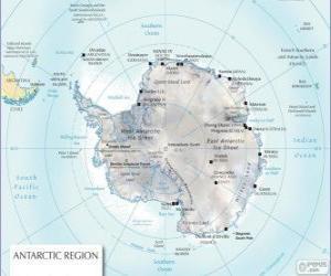 Puzzle de Mapa de la Antártida. El Polo Sur está en el continente antártico