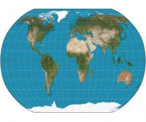 Puzzle de Mapa de la Tierra. Mapa con la proyección de Robinson que permite la representación de todo el mundo