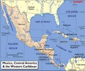 Puzzle de Mapa de México y América Central. Centroamérica, subcontinente que conecta América del Norte y América del Sur