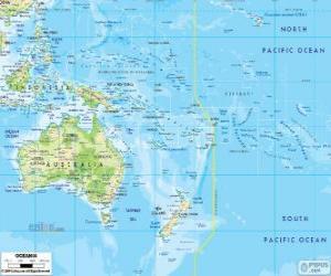 Puzzle de Mapa de Oceanía. Continente formado por Australia y otras islas y archipiélagos  en el oceáno Pacífico