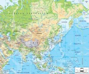 Puzzle de Mapa de Rusia y Asia. El continente asiático es el más grande y el más poblado de la Tierra