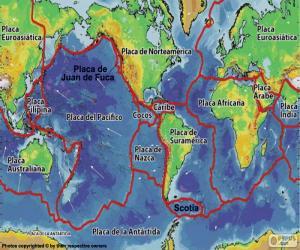 Puzzle de Mapa placas tectónicas