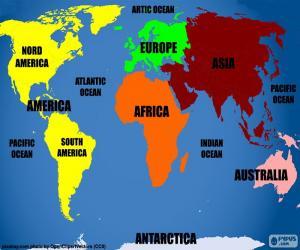 Puzzle de Mapamundi con la representación de los continentes