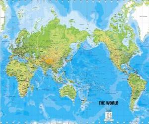 Puzzle de Mapamundi. Mapa del mundo. Proyección de Mercator