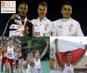 Puzzle de Marcin Lewadowski campeón de 800 m, Michael Rimmer y Adam Kszczot (2º y 3ero) de los Campeonatos de Europa de atletismo Barcelona 2010