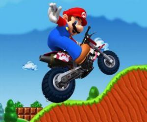Puzzle de Mario Bros en una moto