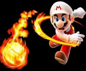 Puzzle de Mario lanzando una bola de fuego