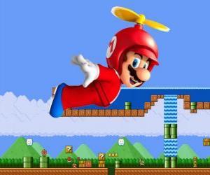 Puzzle de Mario volando con el casco con hélice
