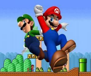 Puzzle de Mario y su hermano Luigi, los fontaneros más famosos