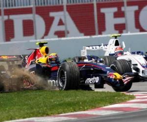 Puzzle de Mark Webber pilotando su F1