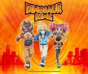 Puzzle de Max, Rex y Zoe, los especialistas en dinosaurios y los protagonistas de la serie Dino Rey o Dinosaur King