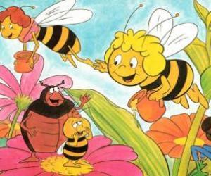 Puzzle de Maya volando junto a Cassandra la maestra llevan un jarrón de miel cada una mientras saludan a sus amigos Wili y Kurt
