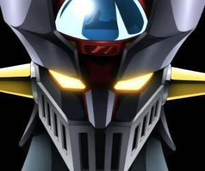 Puzzle de Mazinger Z, cabeza del Super Robot gigantesco, protagonista de las aventuras en la serie de manga Mazinger Z
