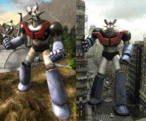 Puzzle de Mazinger Z, en dos imágenes una en el campo y la otra en la ciudad