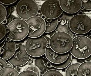 Puzzle de Medallas con los signos del zodíaco chino