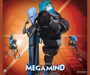 Puzzle de Megamind o Megamente con Minion, el pez sabio