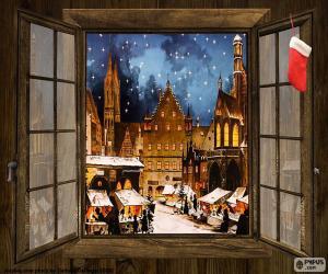 Puzzle de Mercadillo Navidad, ventana