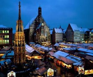 Puzzle de Mercado Christkindl, Nuremberg, Baviera, Alemanya