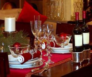 Puzzle de Mesa preparada para el día de Navidad