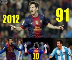 Puzzle de Messi cierra el 2012 con 91 goles