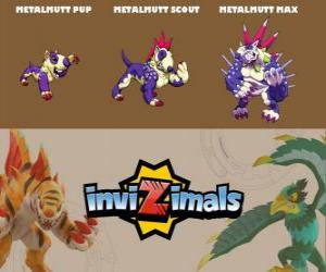 Puzzle de Metalmutt en sus tres fases Metalmutt Pup, Metalmutt Scout y Metalmutt Max, de Invizimals