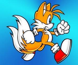 Puzzle de Miles Prower, conocido como Tails es un zorro con dos colas que puede volar