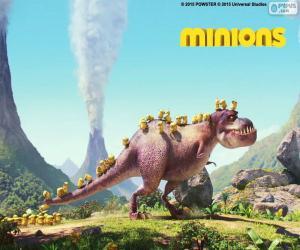 Puzzle de Minions con el dinosaurio
