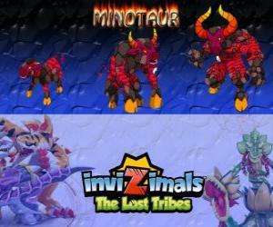 Puzzle de Minotaur, última evolución. Invizimals Las Tribus Perdidas. Peligroso y feroz invizimal que ha escapado del laberinto