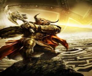 Puzzle de Minotauro - Monstruo gigante con cuerpo humano y cabeza de toro armado como un guerrero