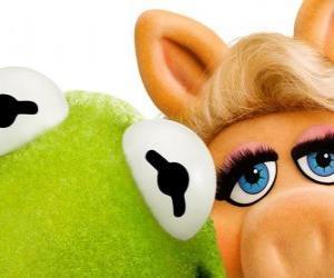 Puzzle de Miss Piggy y la Rana Gustavo o la Rana René