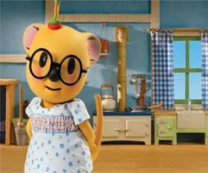 Puzzle de Mitzi el posum con un bonito vestido