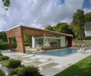 Puzzle de Moderna casa unifamiliar con piscina