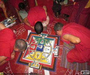 Puzzle de Monjes haciendo un mandala