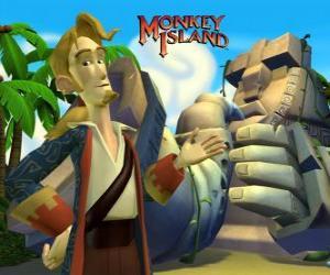 Puzzle de Monkey Island, un vídeojuego de aventuras. Guybrush Threepwood, uno de los protagonistas principales