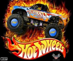Puzzle de Monster Truck de Hot Wheels en acción