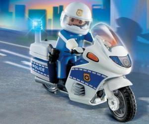 Puzzle de Moto de policía de Playmobil