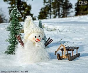 Puzzle de Muñeco de nieve y trineo