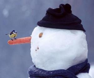 Puzzle de Muñeco de nieve con un pájaro en su nariz