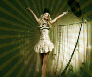 Puzzle de Muchacha funambulista con vestido de bailarina y con sombrero de cucurucho caminando sobre la cuerda