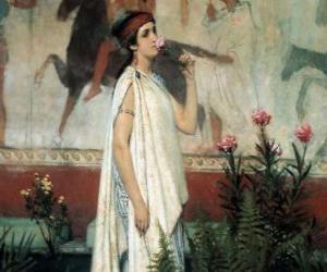 Puzzle de Mujer o dama griega con su quitón o túnica