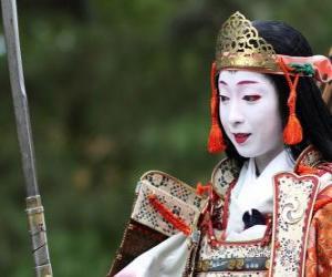 Puzzle de Mujer samurái, mujer guerrera con la katana