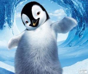 Puzzle de Mumble es un pinguino emperador