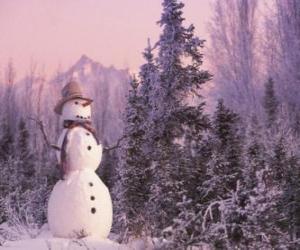 Puzzle de Muñeco de nieve ante un paisaje nevado