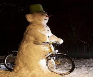 Puzzle de Muñeco de nieve en bicicleta